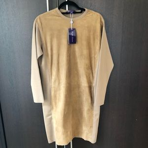 Ralph Lauren Collection Suede Leather Wool Dress S